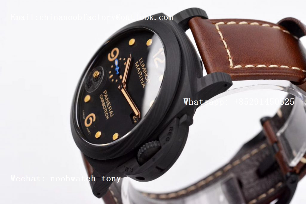 Replica Panerai PAM661 Carbotech VSF 1:1 Best Edition on Brown Leather Strap P.9010 Clone