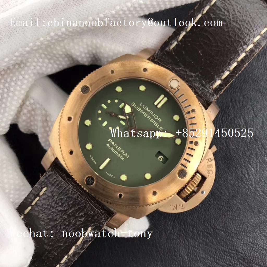 Replica Panerai PAM382 N Bronzo VSF 1:1 Best Edition on Brown Distressed Calfskin Strap P.9000 Super Clone V2