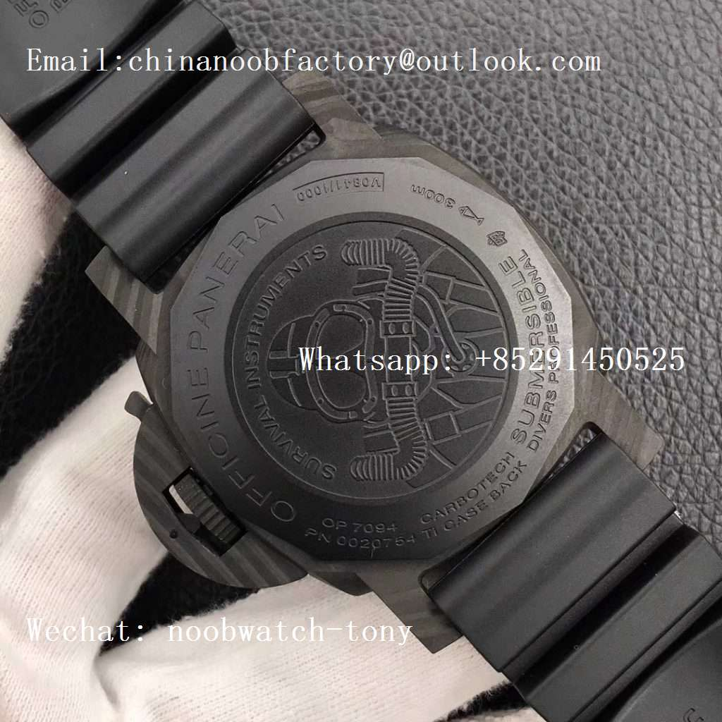 Replica Panerai PAM979 Carbotech VSF Best Edition Carbon Dial on Rubber Strap P.9010 Clone (Free Leather Strap)