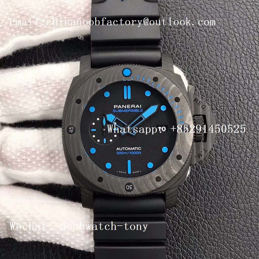 Replica Panerai PAM1616 Carbotech 47mm VSF Best Edition Black Dial Blue Markers on Rubber Strap P.9010 Clone