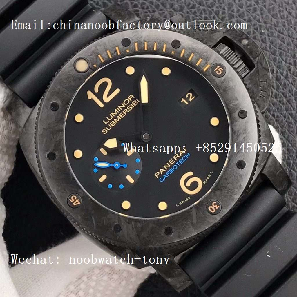 Replica Panerai PAM616 Special Edition Forged Carbon XF Best Edition on Black Rubber Strap P.9000
