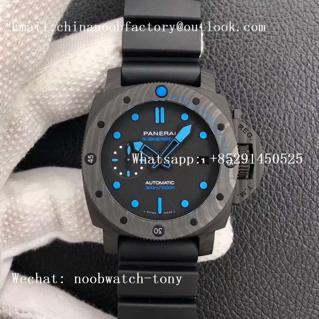 Replica Panerai PAM960 Carbotech 42mm VSF Best Edition Black Dial Blue Markers on Rubber Strap P.9010 Clone