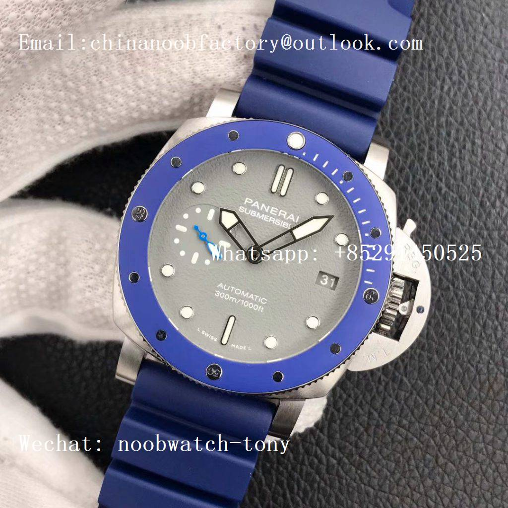 Replica Panerai PAM959 42mm VSF Best Edition Blue Ceramic Bezel Gray Dial on Blue Rubber Strap P.9010 Clone