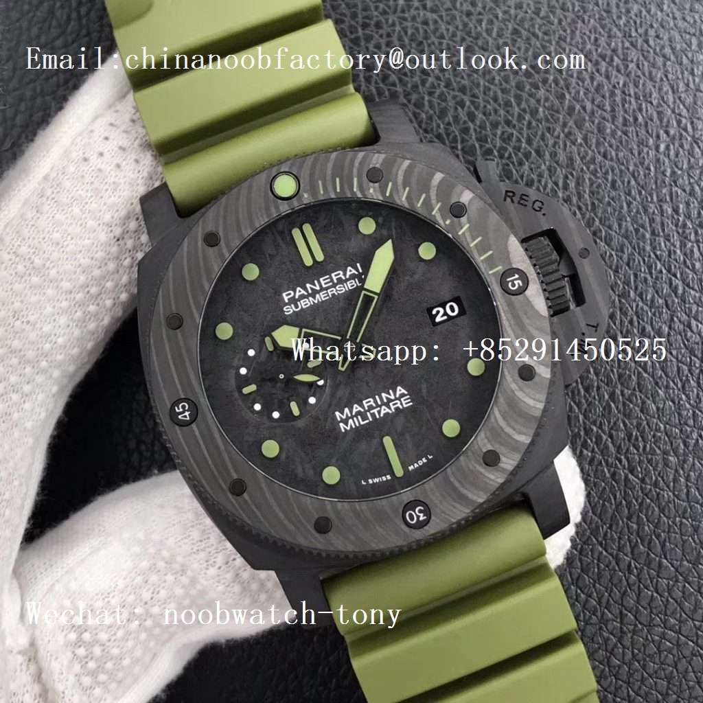 Replica Panerai PAM961 Carbotech VSF Best Edition Carbon Dial on Green Rubber Strap P.9010 Clone
