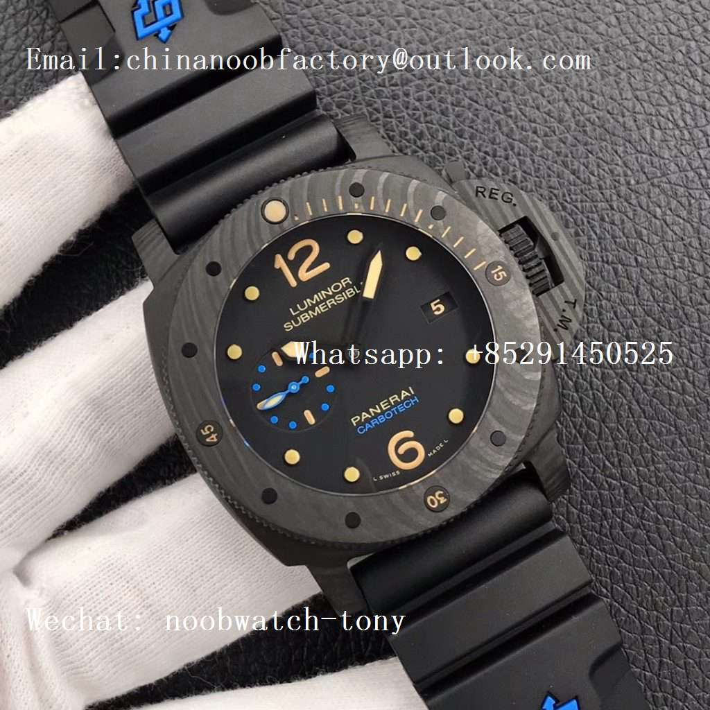 Replica Panerai PAM616 Carbotech VSF Best Edition on Blue Logo Black Rubber Strap P.9000 Super Clone V3 (Free Leather Strap)