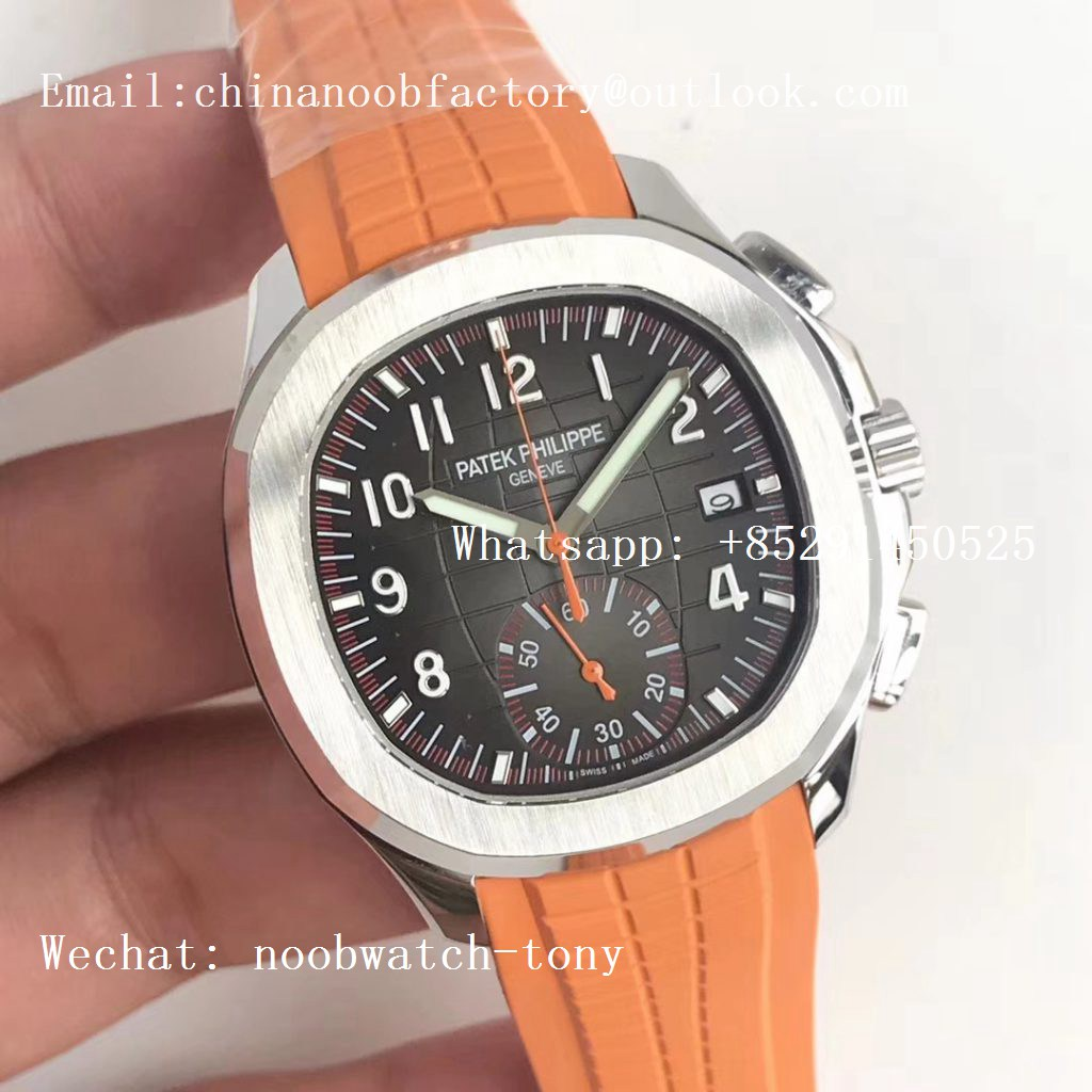 Replica Patek Philippe Aquanaut Chronograph 5968A YLF Best Edition Brown Dial on Orange Rubber Strap A7750