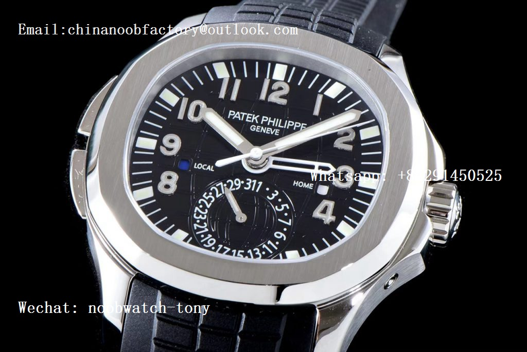 Replica Patek Philippe Aquanaut 5164A SS GRF Best Edition Black Dial on Black Rubber Strap A324
