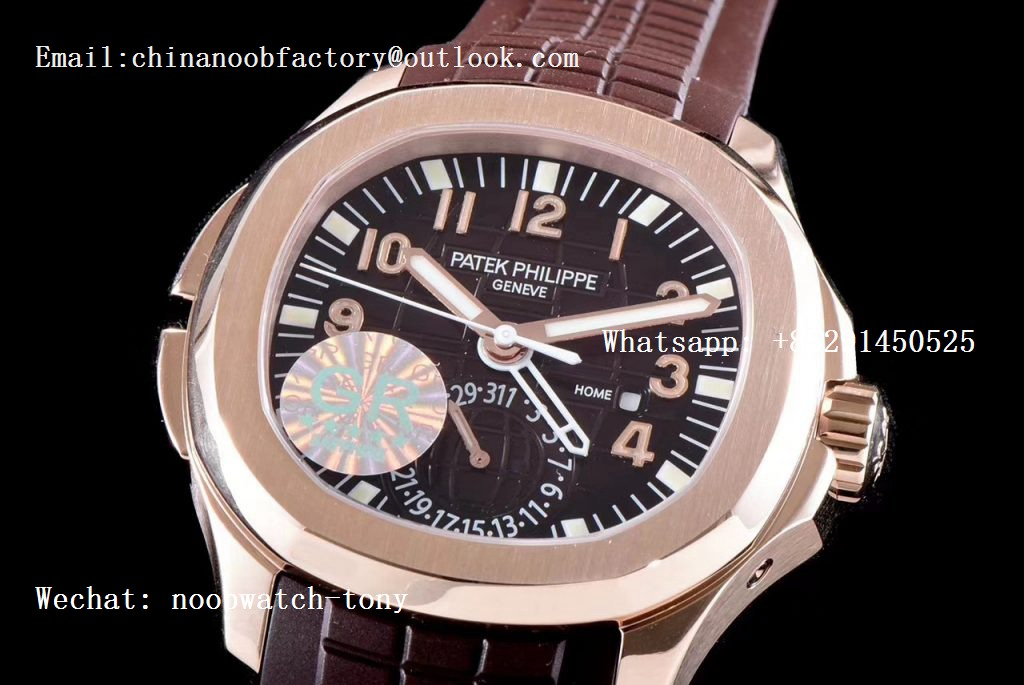 Replica Patek Philippe Aquanaut 5164R Rose Gold GRF Best Edition Brown Dial on Brown Rubber Strap A324
