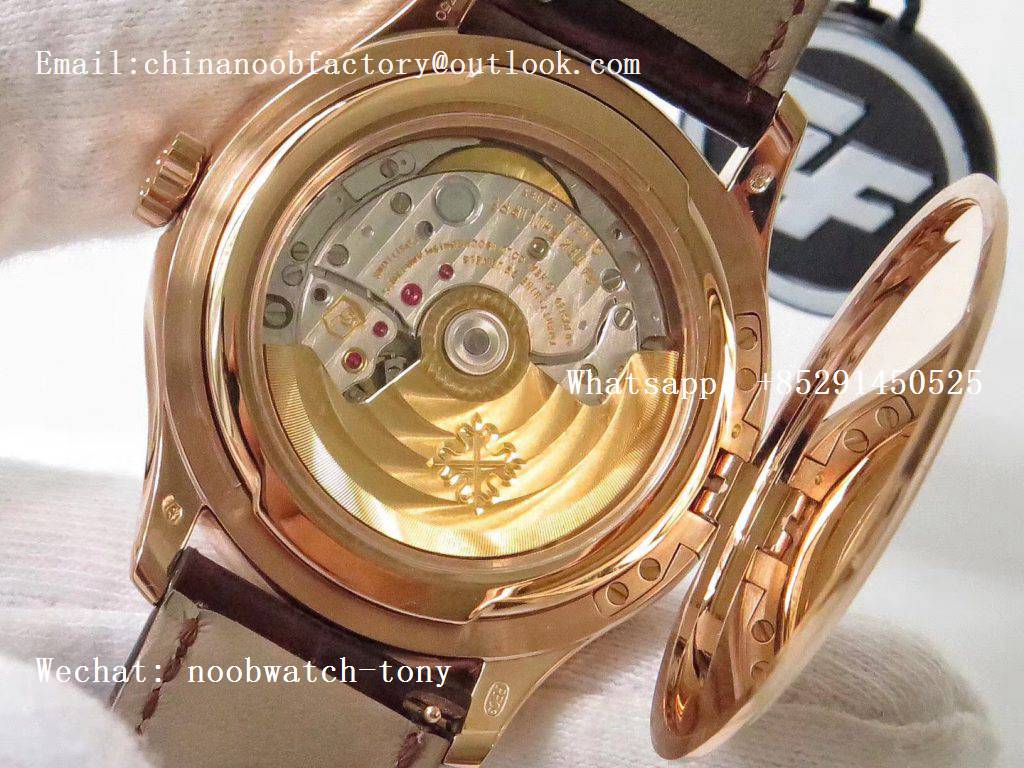 Replica Patek Philippe Calatrava 5227J Rose Gold ZF 1:1 Best Edition White Dial on Brown Leather Strap A324CS