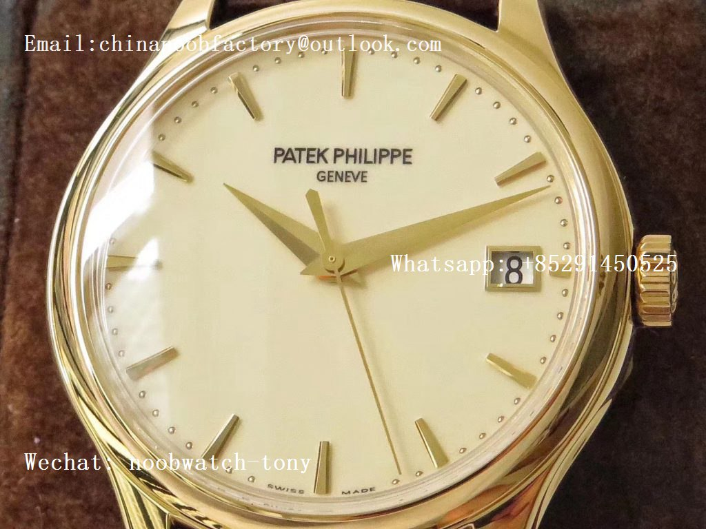 Replica Patek Philippe Calatrava 5227J Yellow Gold ZF 1:1 Best Edition White Dial on Brown Leather Strap A324CS