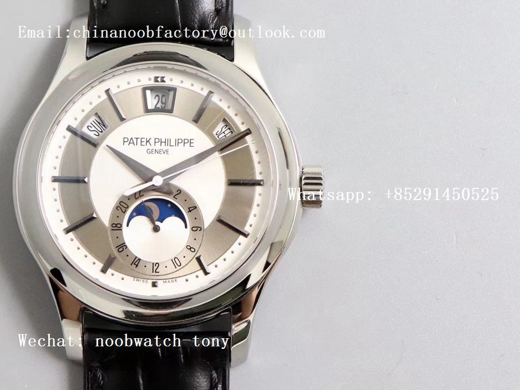 Replica Patek Philippe Annual Calendar 5205G GRF Best Edition White Dial on Black Leather Strap A324