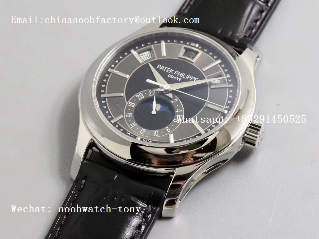 Replica Patek Philippe Annual Calendar 5205G GRF Best Edition Gray Dial on Black Leather Strap A324