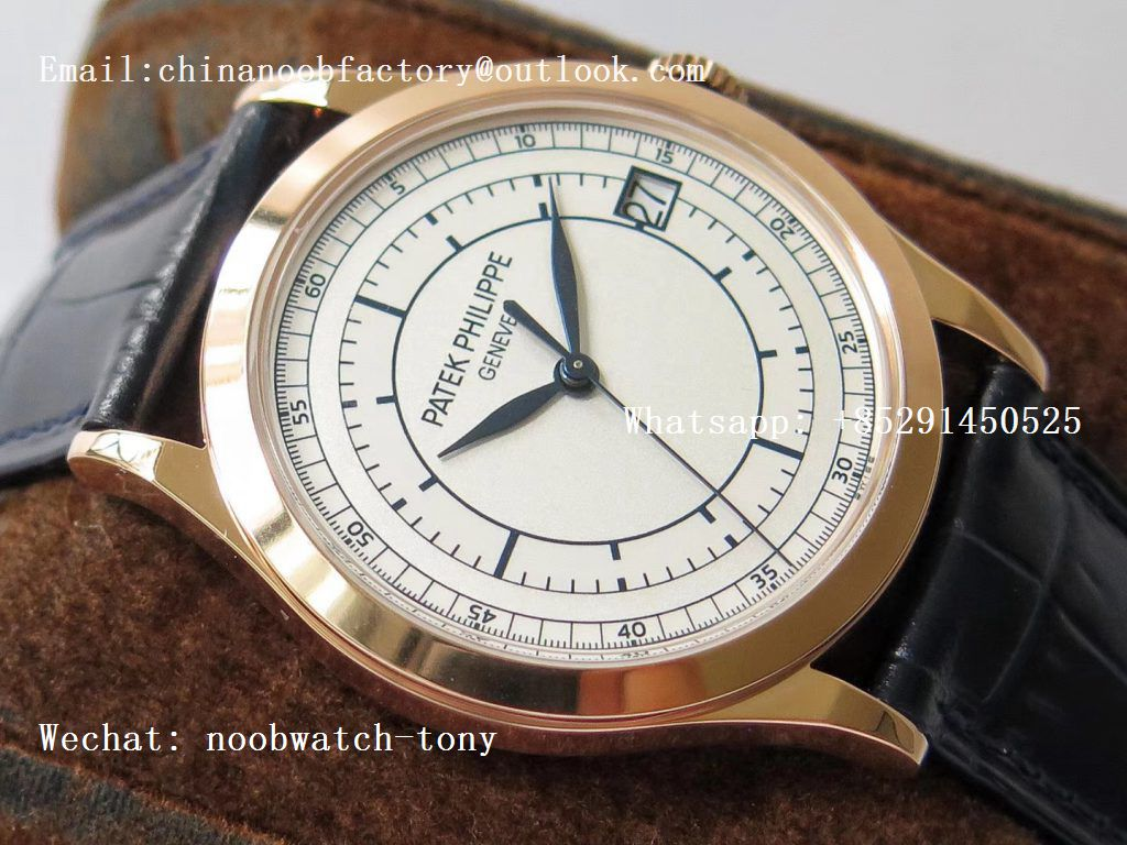 Replica Patek Philippe Calatrava 5296R Rose Gold ZF 1:1 Best Edition White Dial Blue Hands on Blue Leather Strap 324CS (Free box)