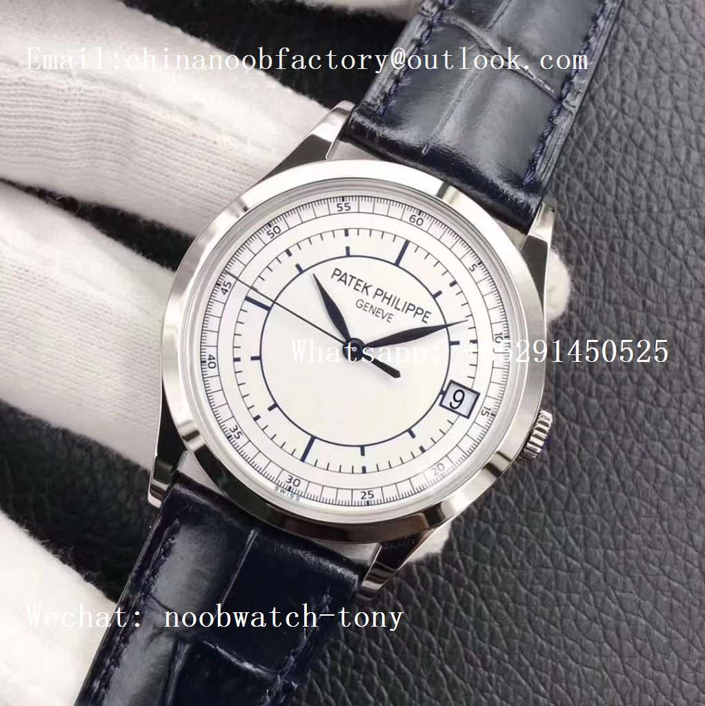 Replica Patek Philippe Calatrava 5296G SS ZF 1:1 Best Edition White Dial Blue Hands on Blue Leather Strap 324CS (Free box)