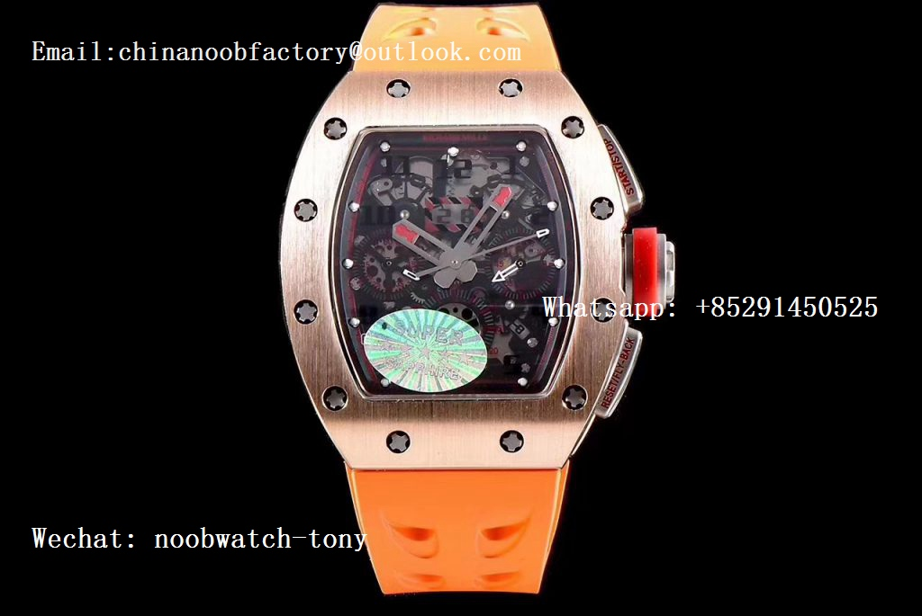 Replica Richard Mille RM011 Rose Gold Chronograph SS Case KVF 1:1 Best Edition Crystal Black/Red Skeleton Dial on Orange Rubber Strap A7750