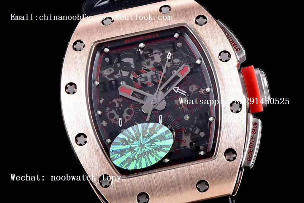 Replica Richard Mille RM011 Rose Gold Chronograph SS Case KVF 1:1 Best Edition Crystal Black/Red Skeleton Dial on Black Rubber Strap A7750