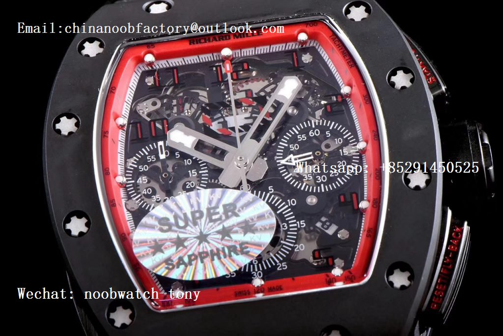 Replica Richard Mille RM011 Real Ceramic Case Chronograph KVF 1:1 Best Edition Crystal Skeleton Dial Black on Black Rubber Strap A7750