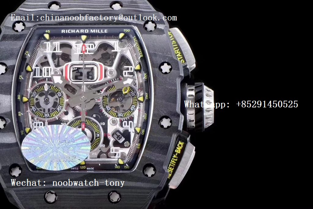 Replica Richard Mille RM011 Carbon Case Chrono KVF 1:1 Best Edition Crystal Skeleton Yellow Dial on Camouflage Rubber Strap A7750