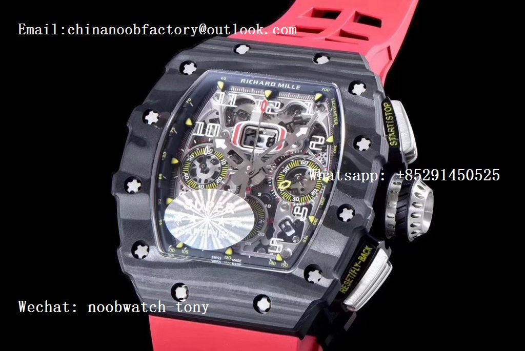 Replica Richard Mille RM011 Carbon Case Chrono KVF 1:1 Best Edition Crystal Skeleton Yellow Dial on Red Racing Rubber Strap A7750