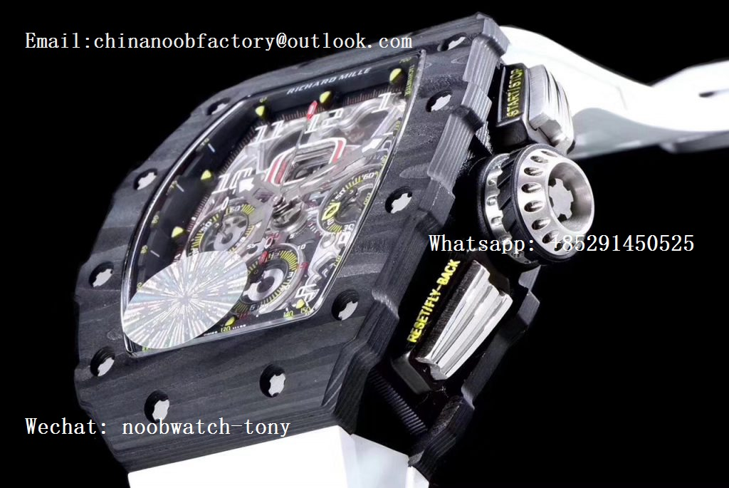 Replica Richard Mille RM011 Carbon Case Chrono KVF 1:1 Best Edition Crystal Skeleton Yellow Dial on White Racing Rubber Strap A7750