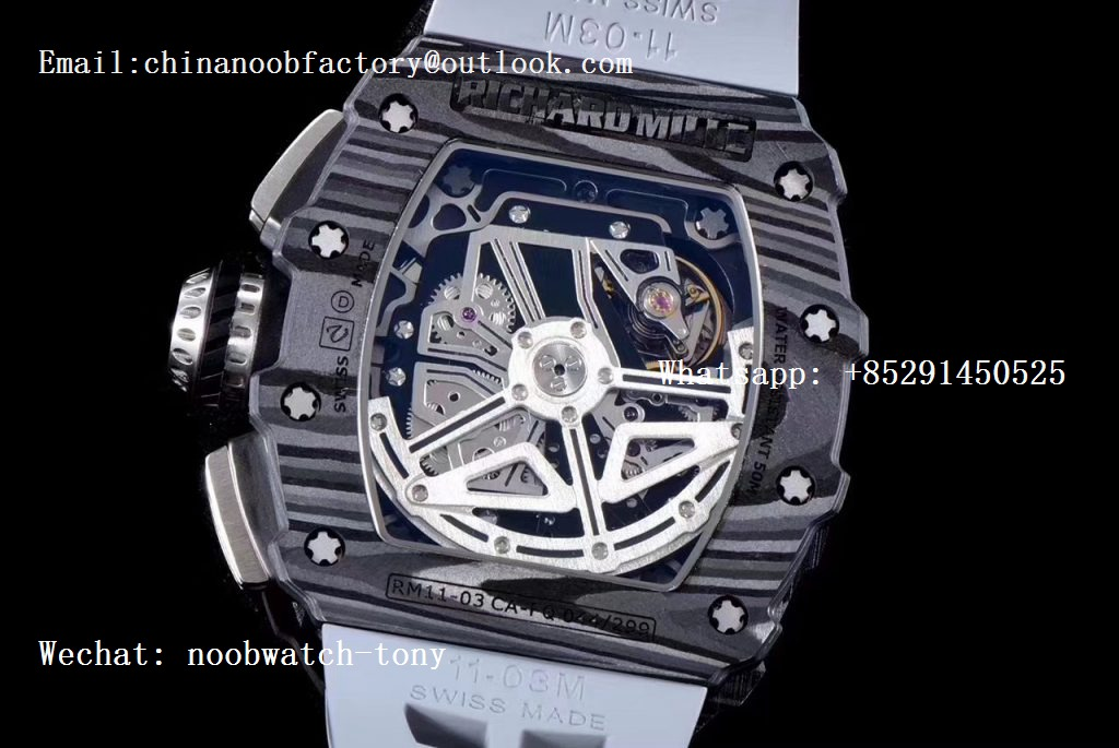 Replica Richard Mille RM011 Carbon Case Chrono KVF 1:1 Best Edition Crystal Skeleton Yellow Dial on Gray Racing Rubber Strap A7750
