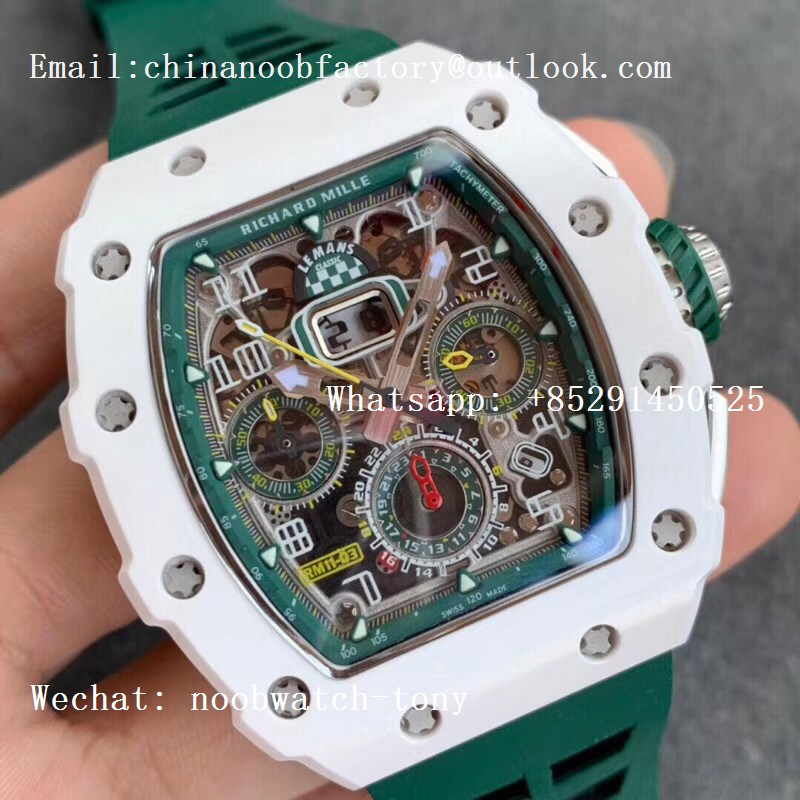 Replica Richard Mille RM011 Real White Ceramic Chronograph KVF 1:1 Best Edition Crystal Skeleton Dial Green on Green Rubber Strap A7750