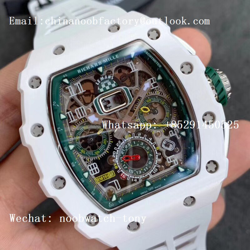 Replica Richard Mille RM011 Real White Ceramic Chronograph KVF 1:1 Best Edition Crystal Skeleton Dial Green on White Rubber Strap A7750