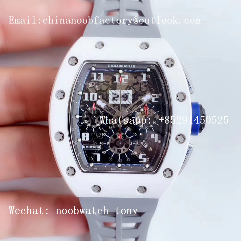 Replica Richard Mille RM011 Real White Ceramic Chronograph KVF 1:1 Best Edition Crystal Skeleton Dial Blue on Gray Rubber Strap A7750