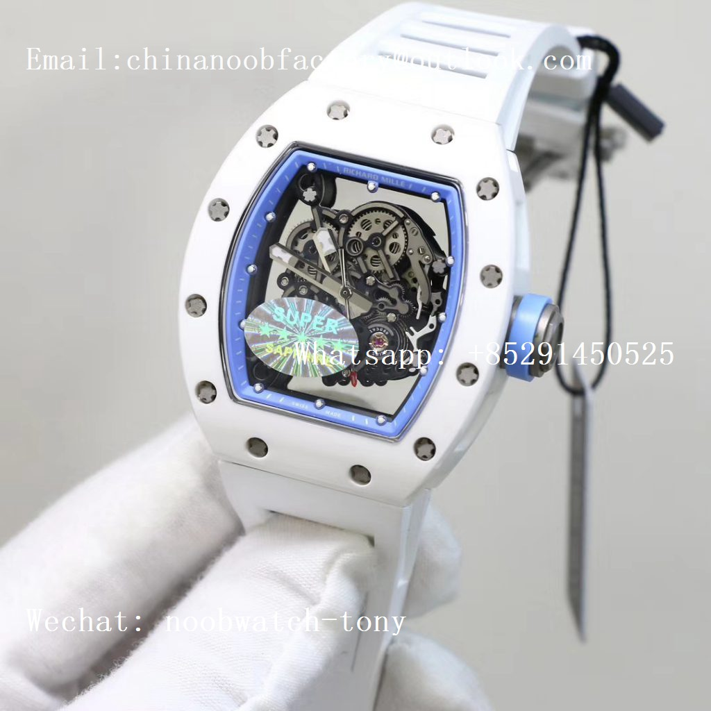 Replica Richard Mille RM055 Real All White Ceramic KVF Best Edition Skeleton Dial Blue on White Rubber Strap MIYOTA8215