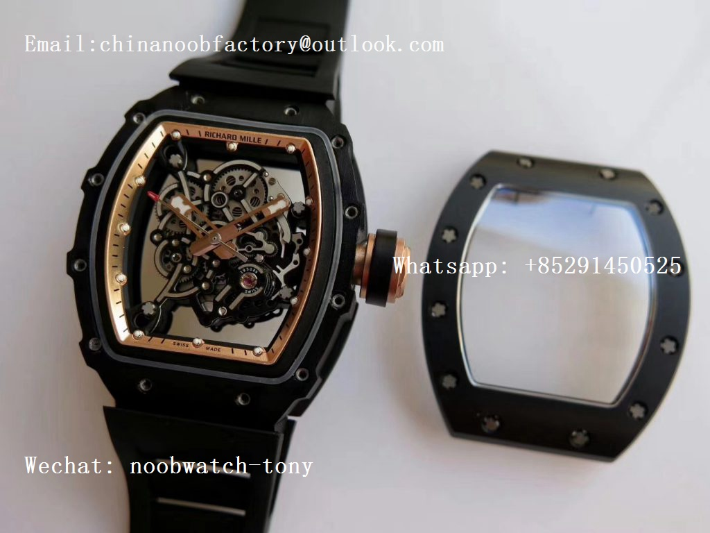 Replica Richard Mille RM055 Real Ceramic Case KVF Best Edition Skeleton Dial Gold on Black Rubber Strap MIYOTA8215