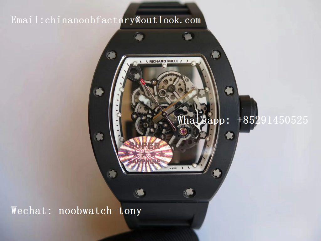 Replica Richard Mille RM055 Real Ceramic Case KVF Best Edition Skeleton Dial White on Black Rubber Strap MIYOTA8215