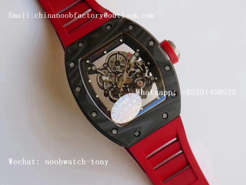 Replica Richard Mille RM055 Forge Carbon Titanium Case KVF Best Edition Skeleton Dial Red on Red Rubber Strap MIYOTA8215