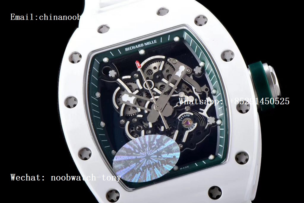 Replica Richard Mille RM055 Real White Ceramic KVF Best Edition Skeleton Dial Green Inner on White Rubber Strap MIYOTA8215