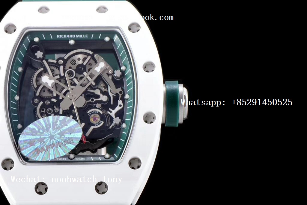 Replica Richard Mille RM055 Real White Ceramic KVF Best Edition Skeleton Dial Green Inner on Green Rubber Strap MIYOTA8215
