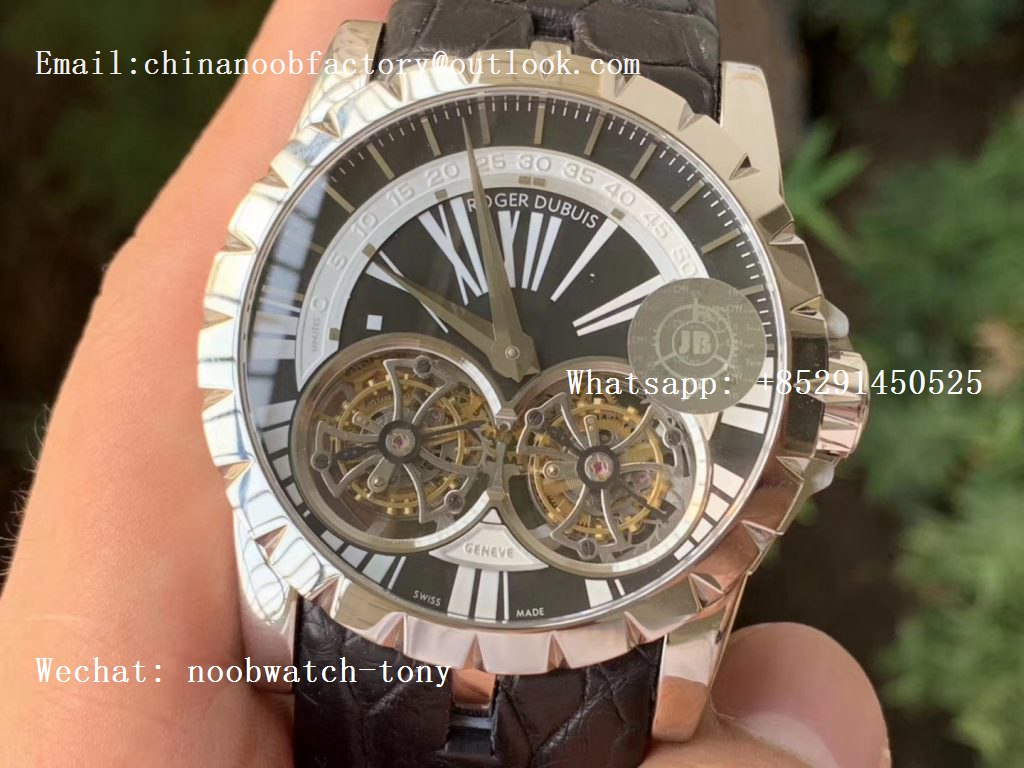 Replica Roger Dubuis Excalibur RDDBEX0250 REAL Double Flying Tourbillon SS JBF White Dial on Black Croco Leather Strap