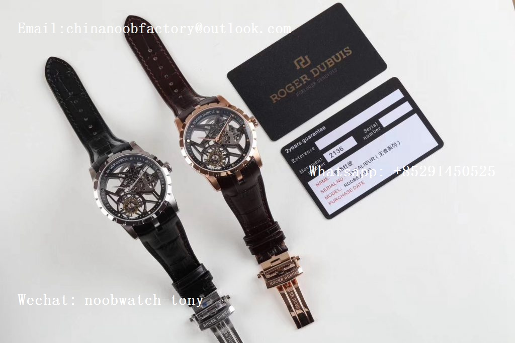 Replica Roger Dubuis Excalibur Rddbex0392 Rose Gold BBR V3 1:1 Best Edition Skeleton Dial on Brown Leather Strap A2136 Tourbillon