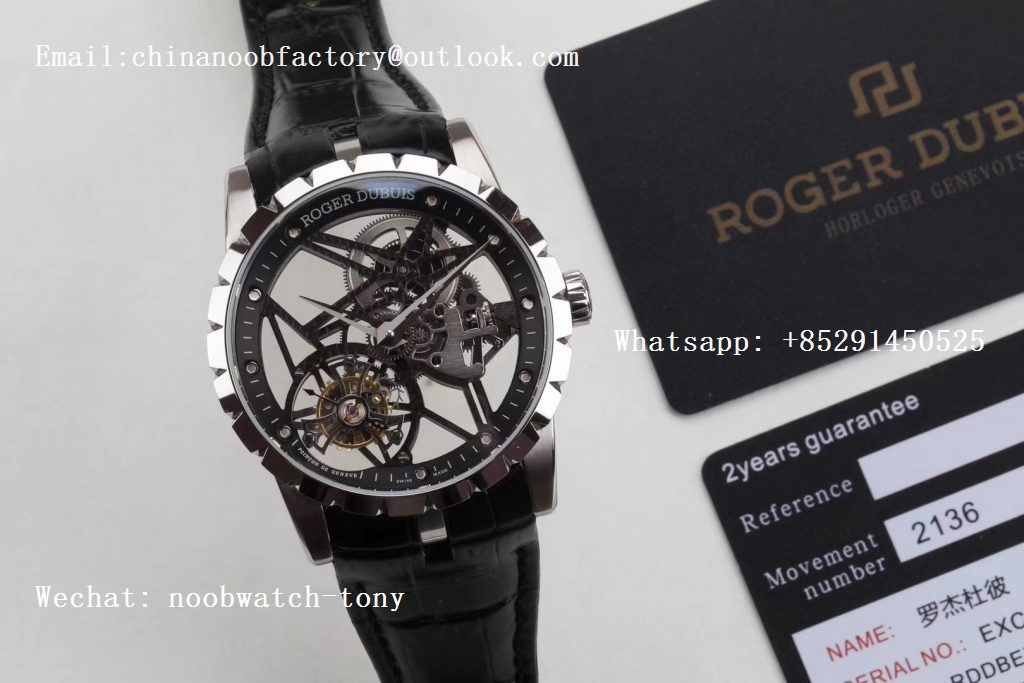 Replica Roger Dubuis Excalibur Rddbex0393 SS BBR V3 Best Edition Skeleton Dial on Black Leather Strap A2136 Tourbillon