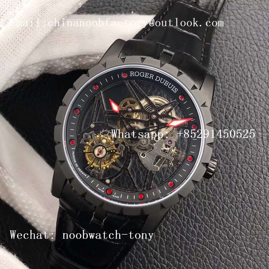Replica Roger Dubuis Excalibur Rddbex0393 PVD BBR Best Edition Skeleton Dial on Black Leather Strap A2136 Tourbillon