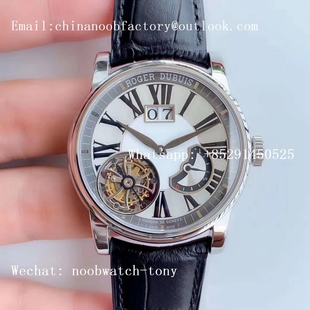 Replica Roger Dubuis Hommage Flying Tourbillon RDDBHO0568 SS V9F Best Edition White Dial on Black Leather Strap