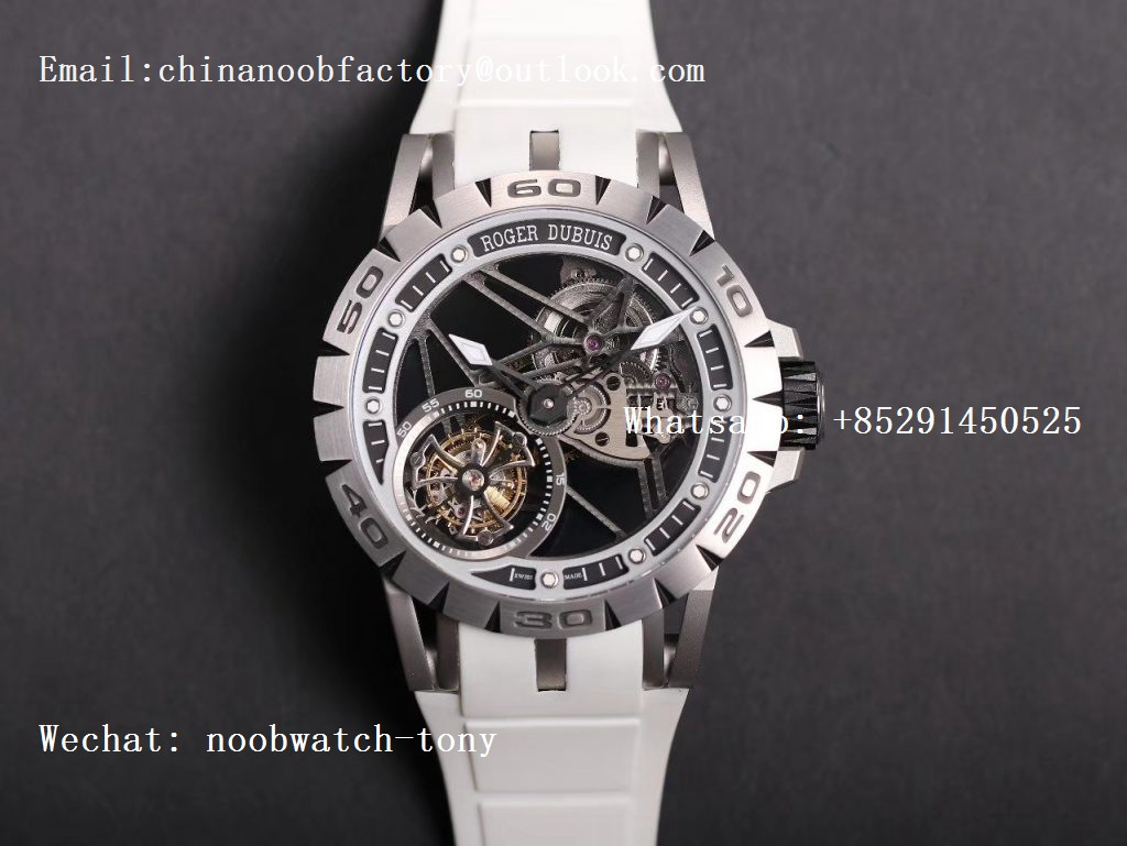 Replica Roger Dubuis Excalibur Sports Tourbillon SS JBF Best Edition Skeleton Dial on White Rubber Strap