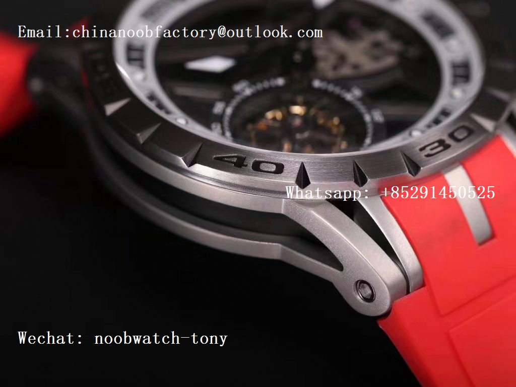 Replica Roger Dubuis Excalibur Sports Tourbillon SS JBF Best Edition Skeleton Dial on Red Rubber Strap