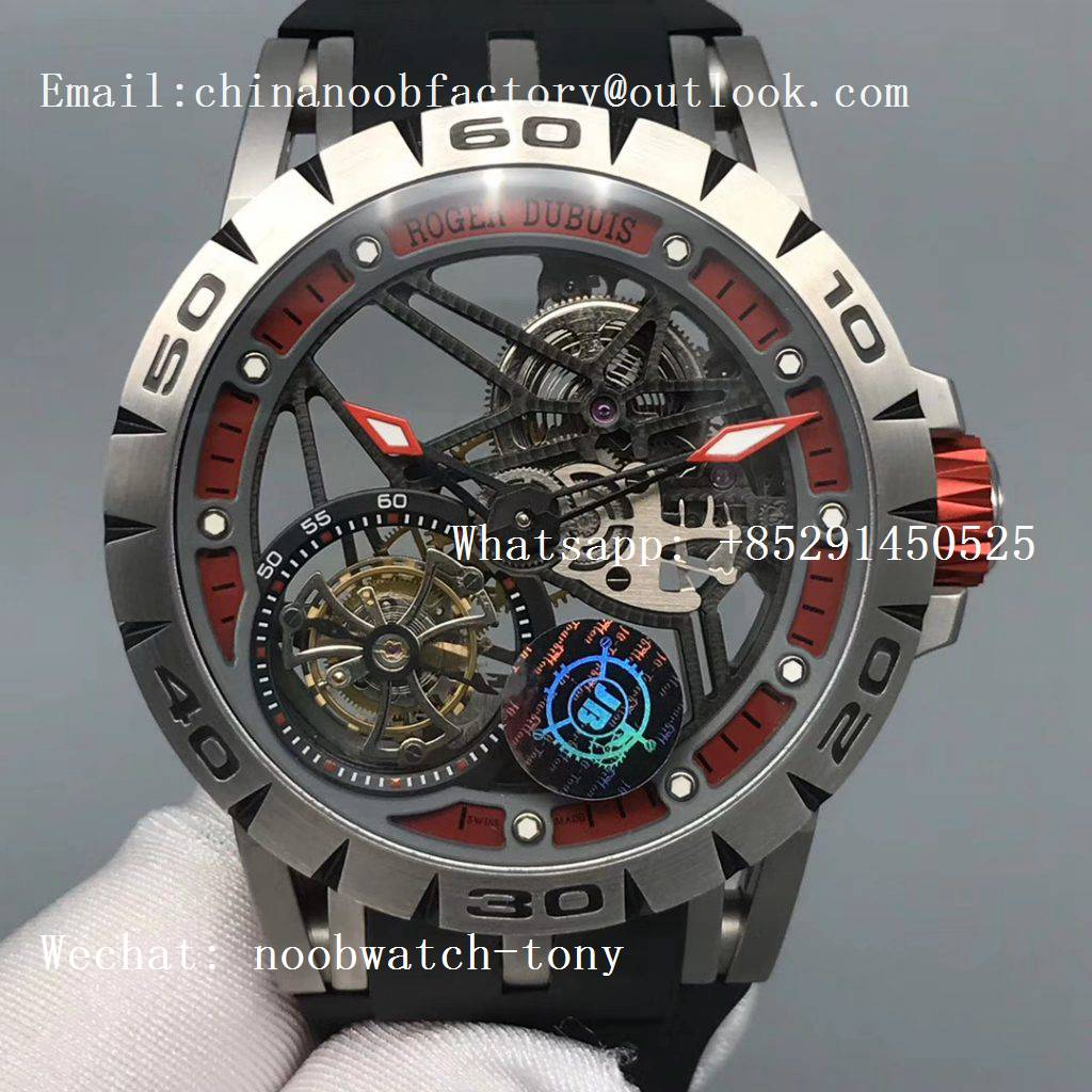 Replica Roger Dubuis Excalibur Sports Tourbillon SS JBF Best Edition Skeleton Red Dial on Black Rubber Strap