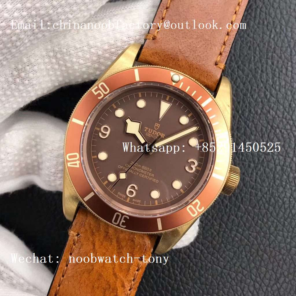 Replica Tudor Heritage Black Bay Bronze XF 1:1 Best Edition on Brown Leather Strap A2824 V4 (Free Nato Strap)