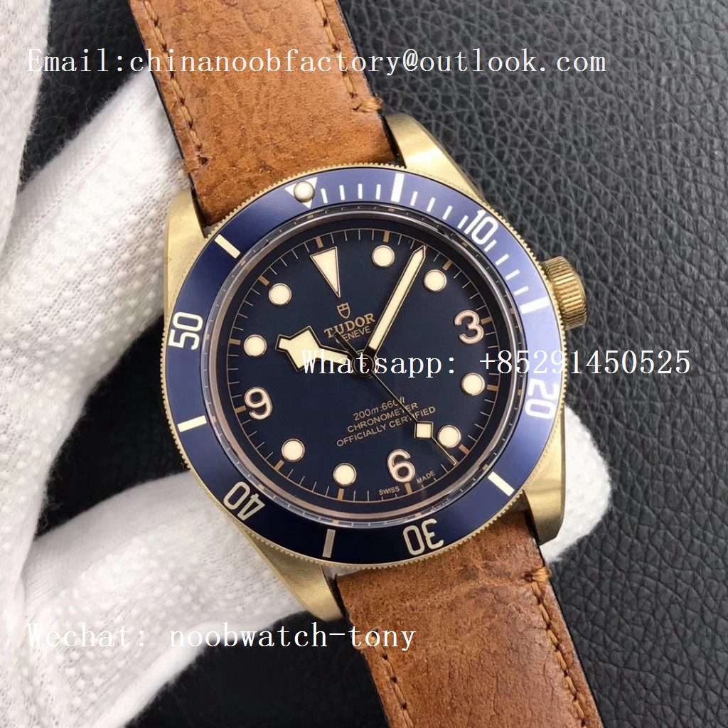 Replica Tudor Heritage Black Bay Bronze Blue XF 1:1 Best Edition on Aged Brown Leather Strap A2824 V3 (Free Nato Strap)