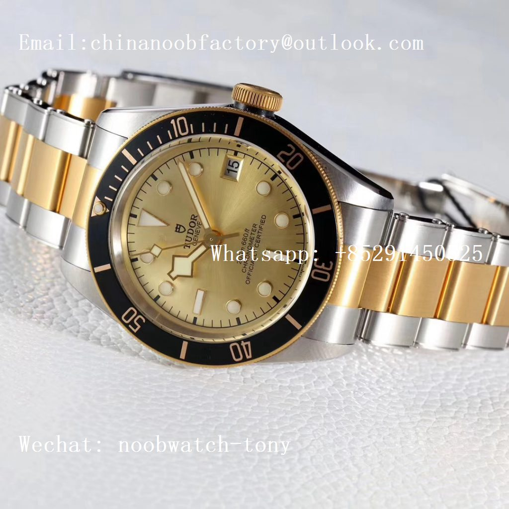 Replica Tudor Heritage Black Bay Yellow Gold/Steel 2018 ZF 1:1 Best Edition Gold Dial on SS/YG Bracelet A2824 (Free Nato Strap)