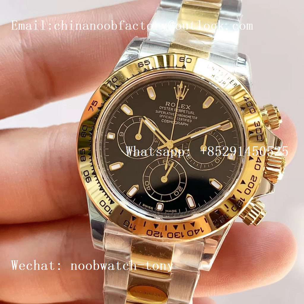 Replica Rolex Daytona 116503 2tone Yellow Gold/SS Two Tone Noob 1:1 Best Edition 904L SS Case and Bracelet Black Dial SA4130