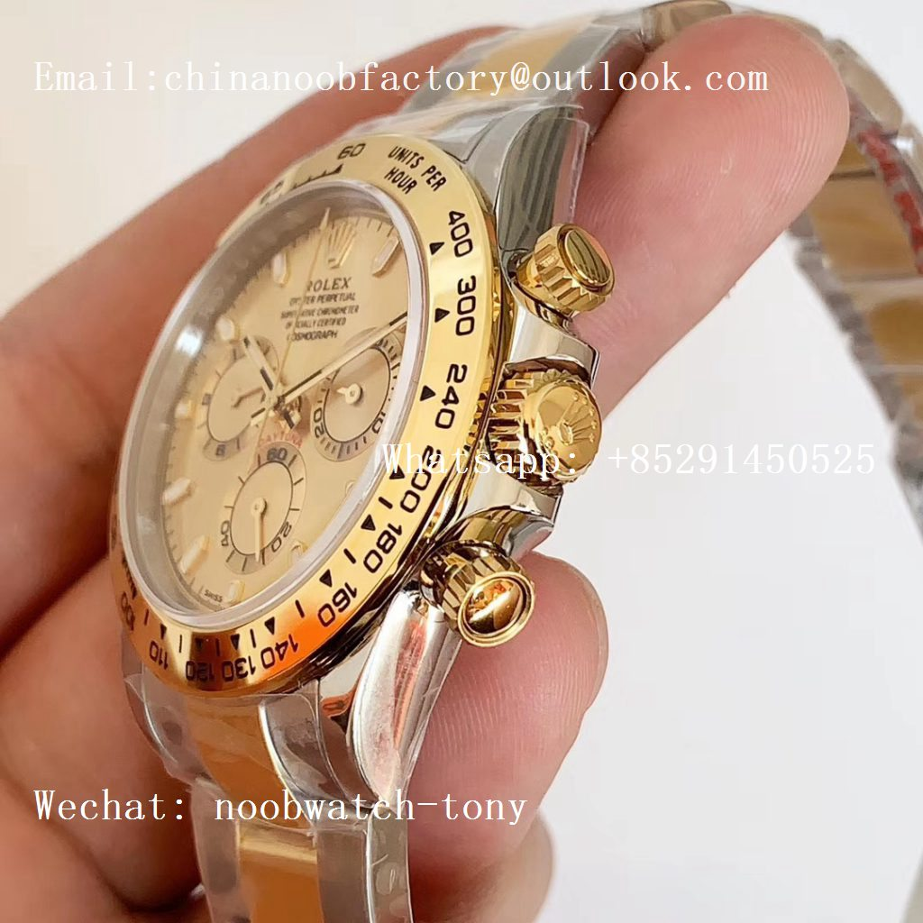 Replica Rolex Daytona 116503 2tone Yellow Gold/SS Two Tone Noob 1:1 Best Edition 904L SS Case and Bracelet Gold Dial SA4130