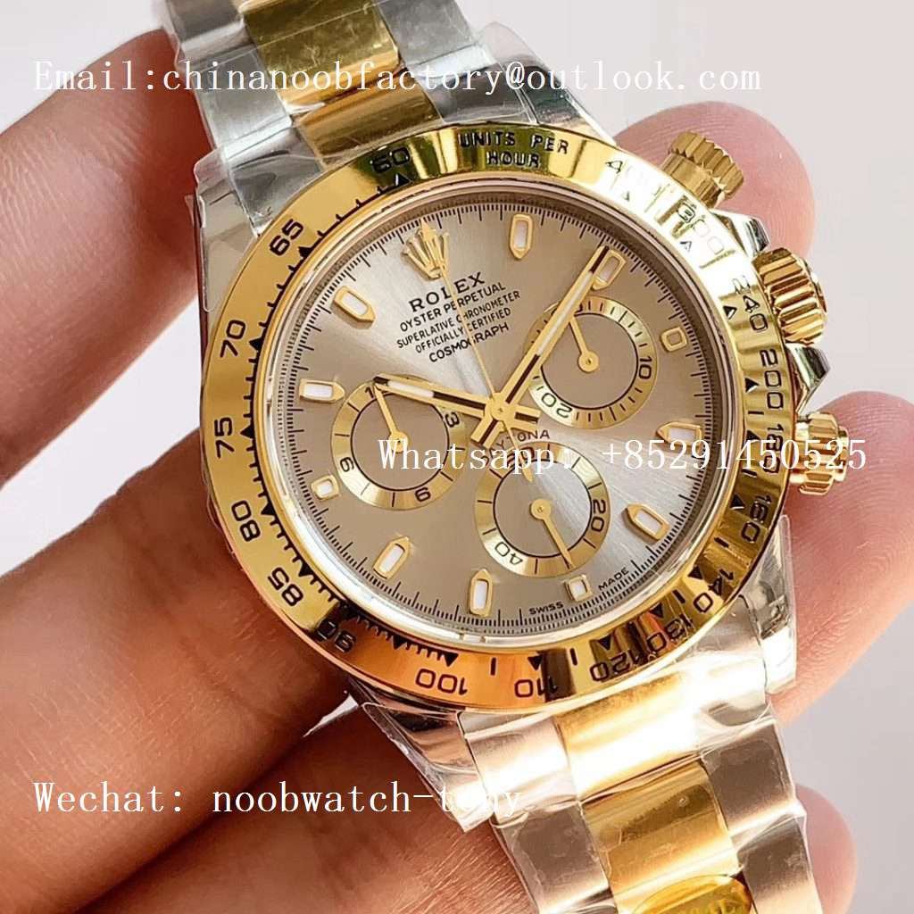 Replica Rolex Daytona 116503 2tone Yellow Gold/SS Two Tone Noob 1:1 Best Edition 904L SS Case and Bracelet Gray Dial SA4130
