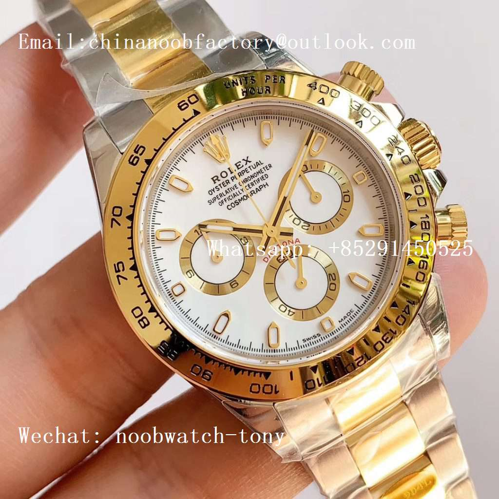 Replica Rolex Daytona 116503 2tone Yellow Gold/SS Two Tone Noob 1:1 Best Edition 904L SS Case and Bracelet White Dial SA4130