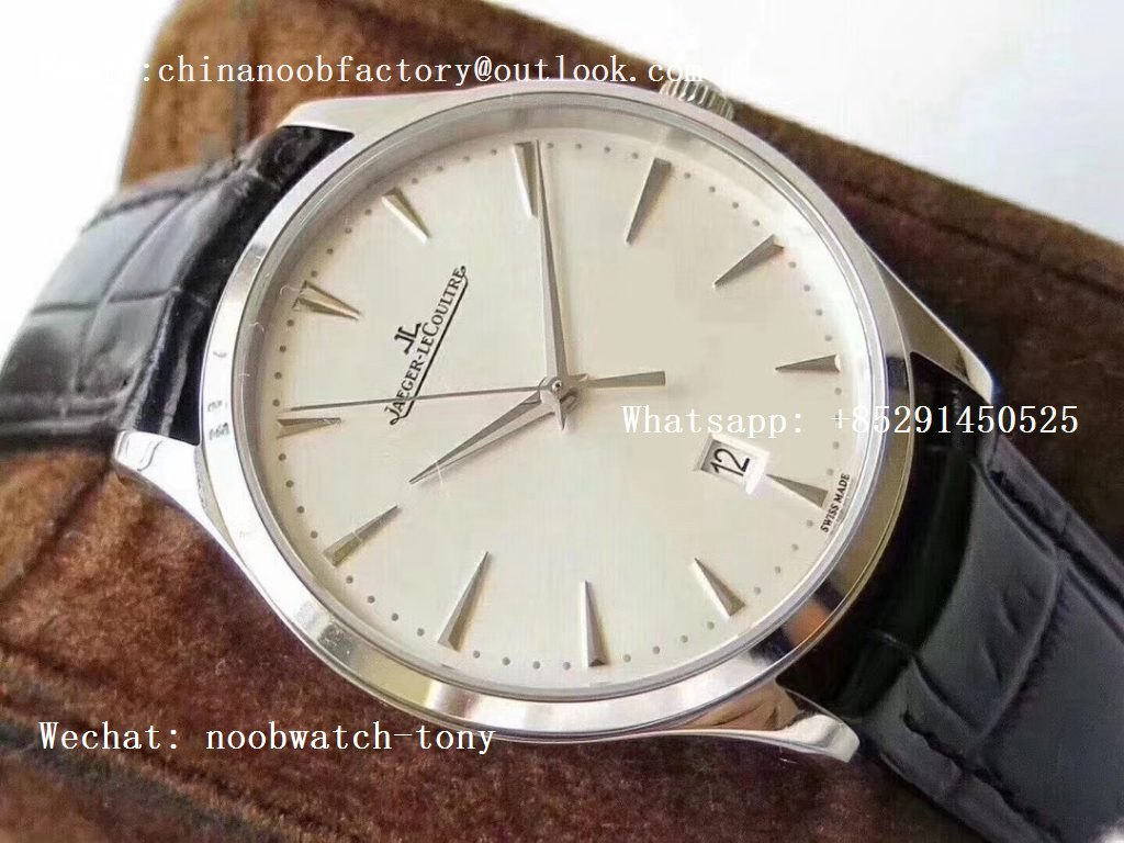 Replica Jaeger Lecoultre JLC Master Ultra Thin Date 1282510 ZF 1:1 Best Edition White Dial on Black Leather Strap A899/1